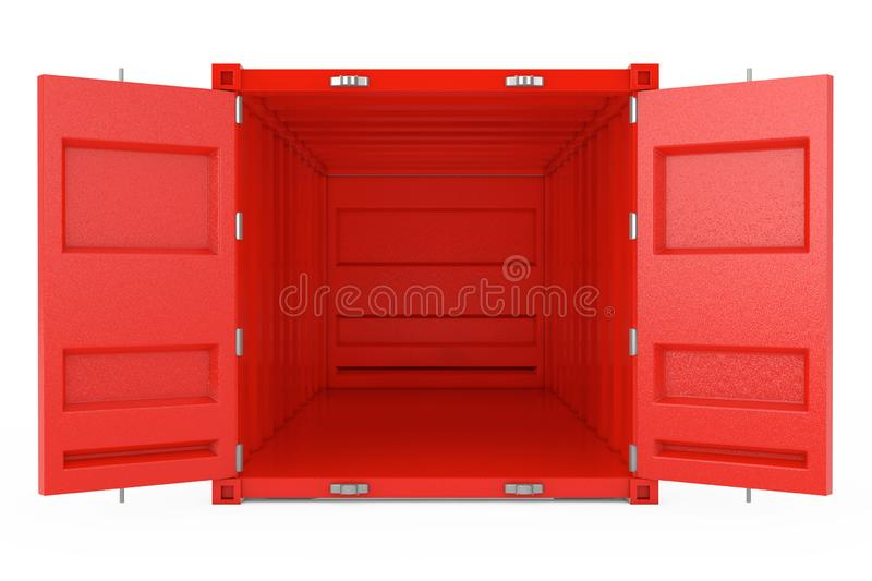 Red Cargo Shipping Container with Open Doors. 3d Rendering. Red Cargo Shipping Container with Open Doors on a white background. 3d Rendering vector illustration