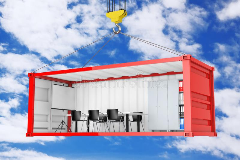Red Cargo Shipping Container with Removed Side Wall Converted into an Office During Transportation with Crane Hook. 3d Rendering. Red Cargo Shipping Container vector illustration