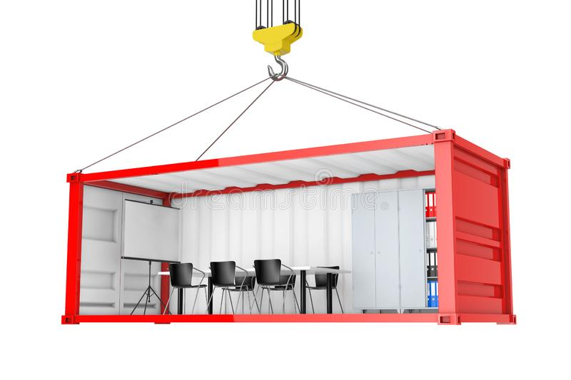 Red Cargo Shipping Container with Removed Side Wall Converted into an Office During Transportation with Crane Hook. 3d Rendering. Red Cargo Shipping Container stock illustration