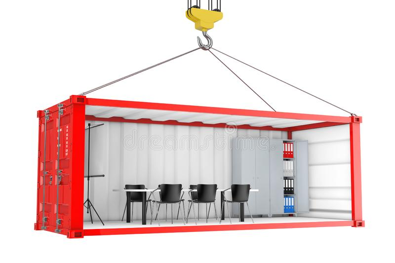Red Cargo Shipping Container with Removed Side Wall Converted into an Office During Transportation with Crane Hook. 3d Rendering. Red Cargo Shipping Container royalty free illustration