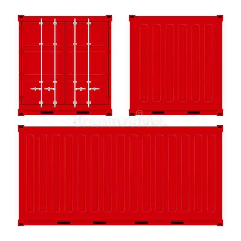 Red cargo shipping container set. Back, front and side view. Vector illustration. Red cargo shipping container set. Back, front and side view. Vector royalty free illustration