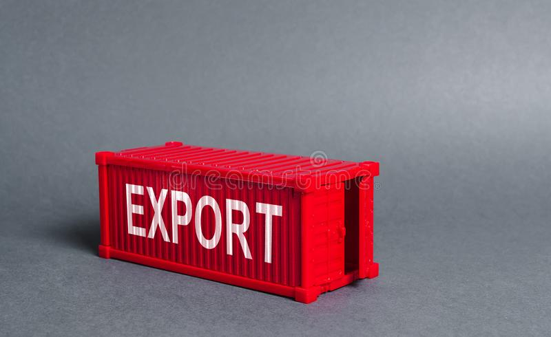 Red cargo shipping container with the word Export. The concept of foreign trade and transportation of goods, delivery, shipping. Industry and production, trade stock images