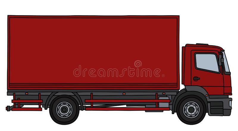 The red cargo truck. The vectorized hand drawing of a red cargo truck vector illustration