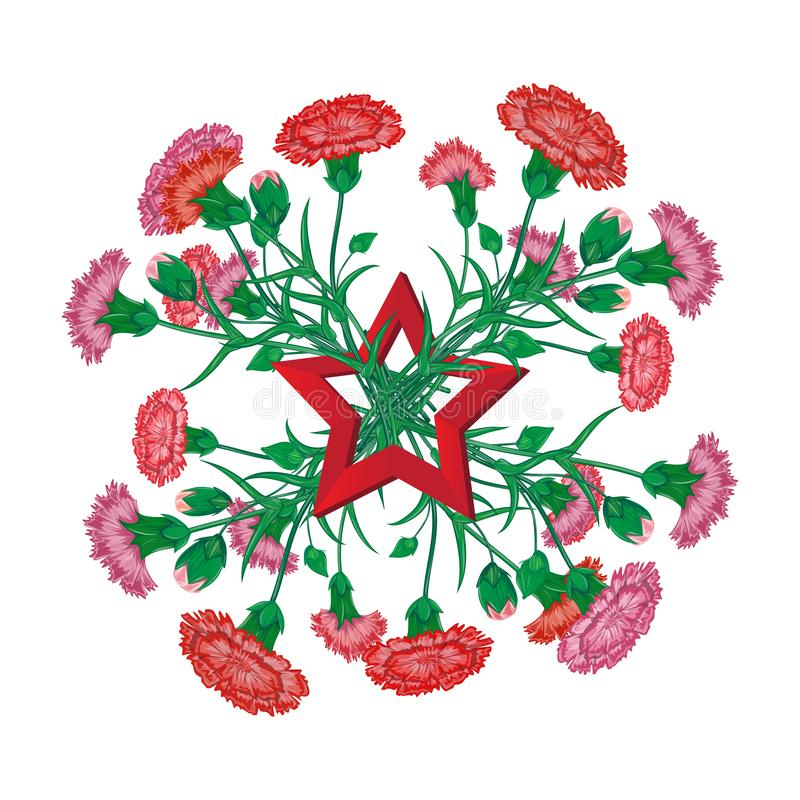 Red carnation bouquet with Saint George ribbon and soviet star to 9 May Victory Day Russian national holiday celebration greeting stock photos