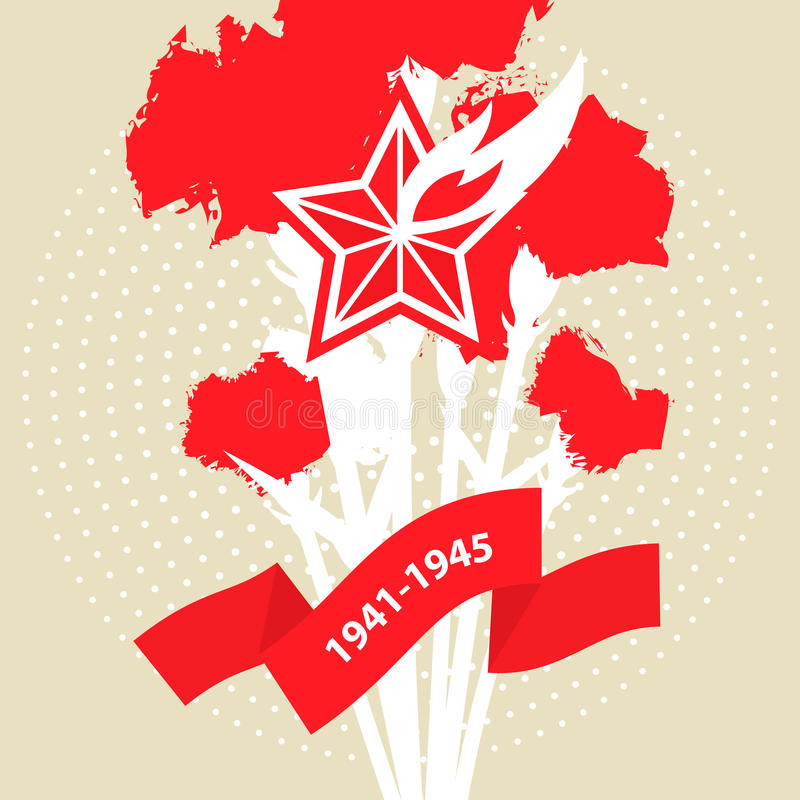 Victory Day flaming star and red carnation flowers stock illustration