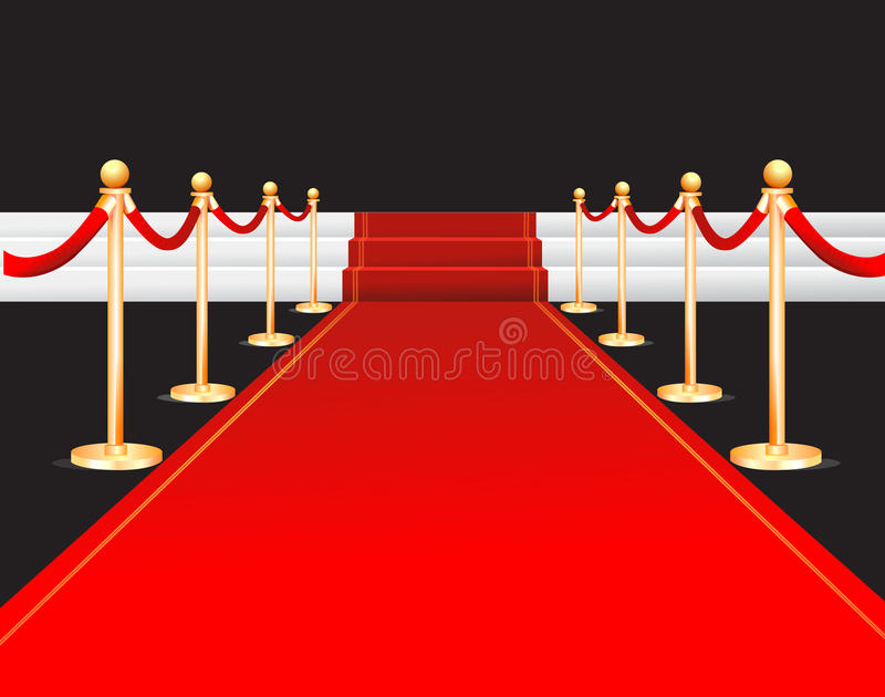 Red carpet illustration. Illustrated red carpet leading to white stairs with gold posts on black