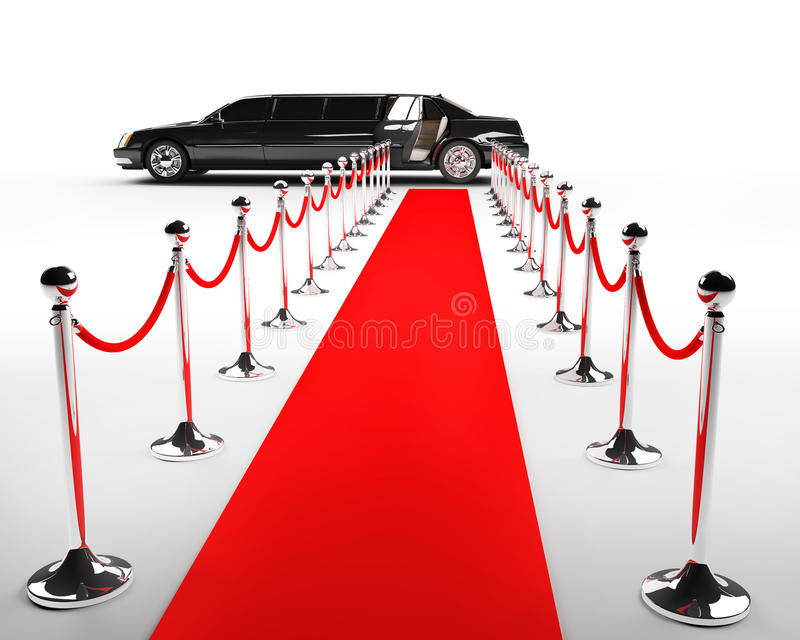 Red carpet. With a black limo vector illustration