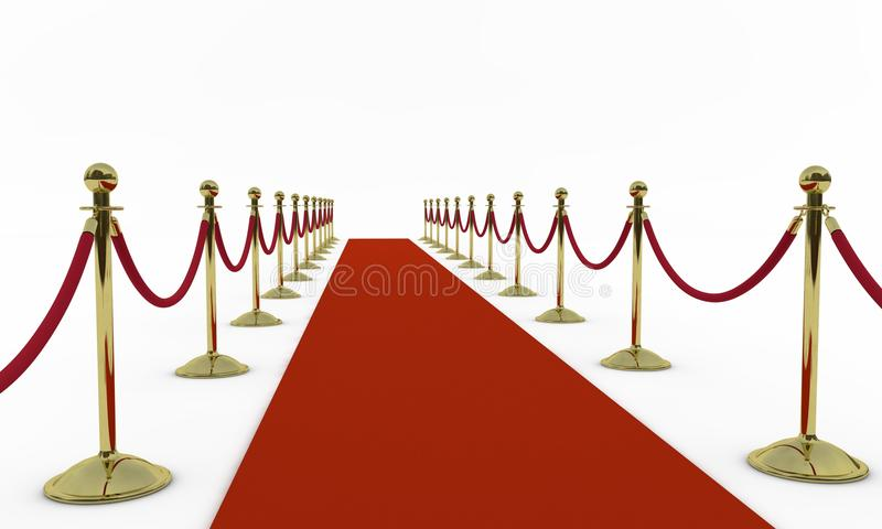 Red carpet. And shiny golden stanchions. Isolated render royalty free illustration
