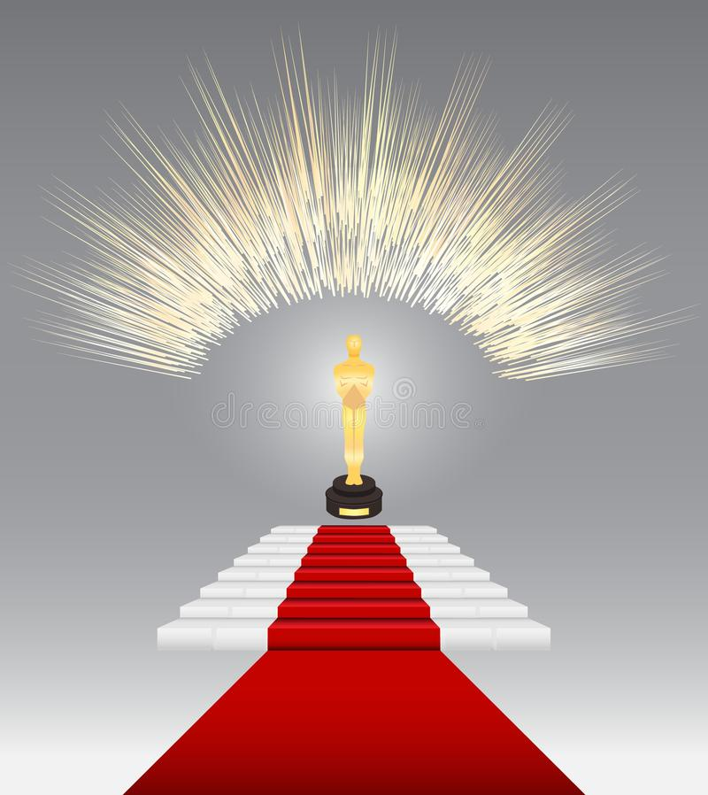Red carpet for awards and ceremonies. Academy award Oscar icon. stock images