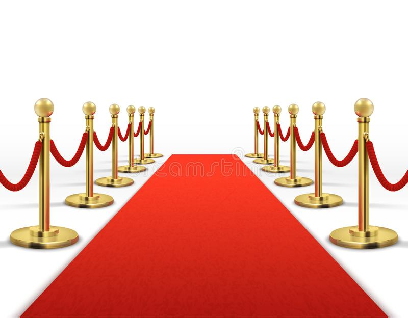 Red carpet for celebrity with gold rope barrier. Success, prestige and hollywood event vector concept. Illustration of carpet red color for entrance vip royalty free illustration