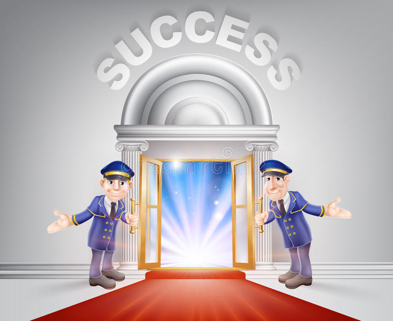 Red carpet door to Success. Success Door concept of a doormen holding open a red carpet entrance to success with light streaming through it royalty free illustration