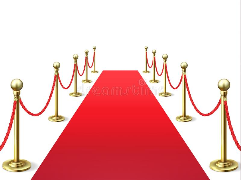 Red carpet. Event celebrity carpets with rope barrier. Vip interior. Hollywood academy movie premiere vector. Background stock illustration