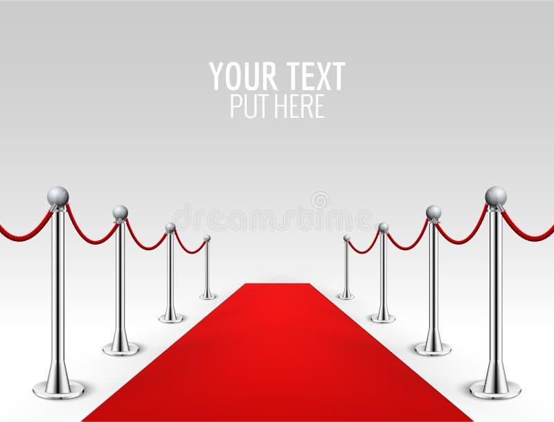 Red carpet event silver barriers background realistic vector illustration. Red carpet luxury entrance celebrity event presentation.  vector illustration