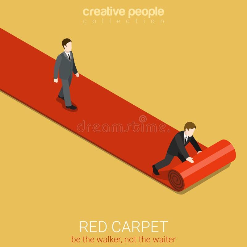 Red carpet flat 3d isometric vector waiter leader winner. Flat 3d isometric style red carpet concept web infographics vector illustration. Man walk on lane and vector illustration