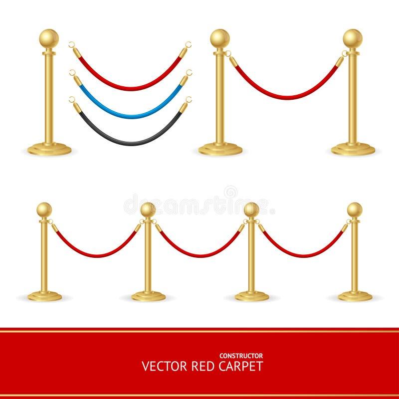Red Carpet Gold Barrier Constructor. Vector. Illustration vector illustration