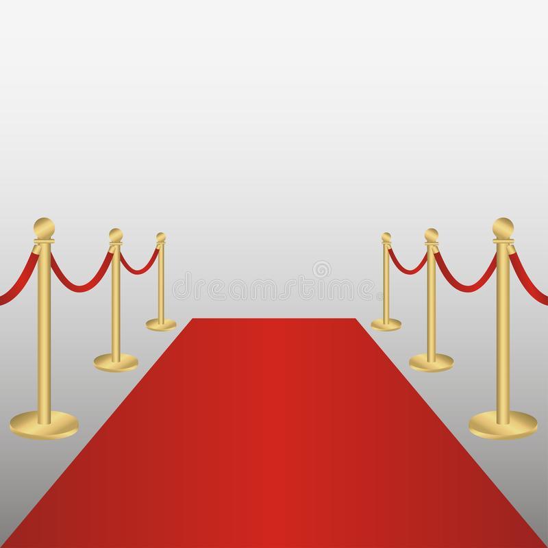 Red carpet with gold barriers rope. Corridor for VIP persons, celebrations, ceremonies, awarding. Vector. Red carpet with gold barriers rope. Corridor for VIP royalty free illustration