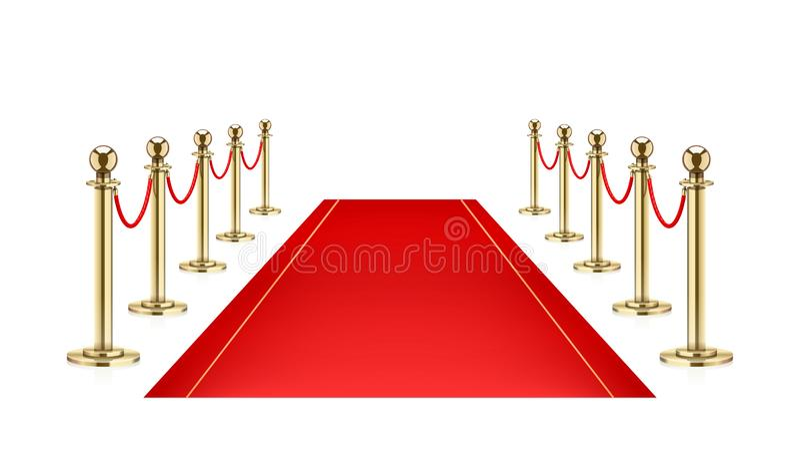 Red carpet and Golden barrier with rope for Vip presentation. Vector illustration. Red carpet and Golden barrier with rope for Vip presentation. Defence vector illustration