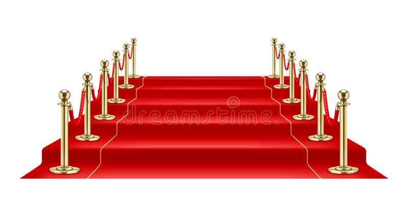 Red carpet and Golden barrier with rope for Vip presentation. Vector illustration. Red carpet and Golden barrier with rope for Vip presentation. Defence royalty free illustration
