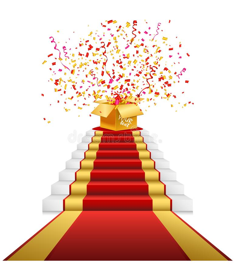 Red carpet, golden gift box with confetti royalty free stock photo