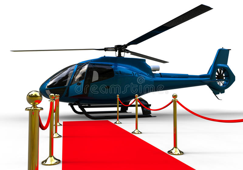 Red Carpet Helicopter. 3D render image representing a helicopter at the end of a red carpet stock illustration