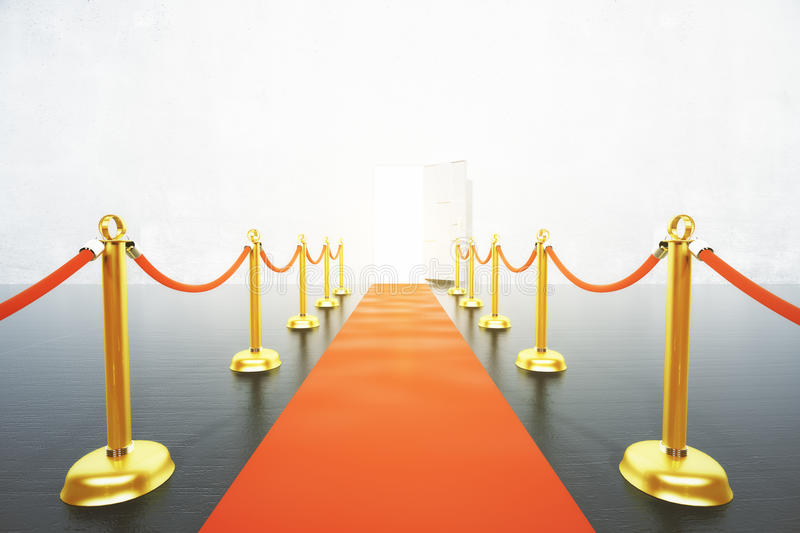Red carpet leading to open door concept. Close up stock illustration