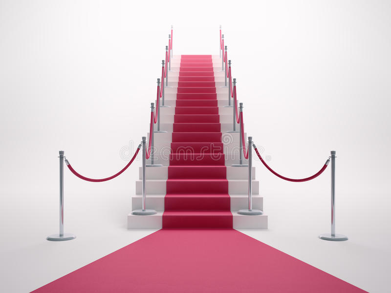 Red carpet leading up the stairs vector illustration