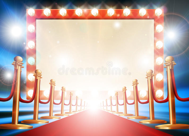 Red Carpet Light Bulb Sign. Red carpet background with theatre or cinema style light bulb sign royalty free illustration