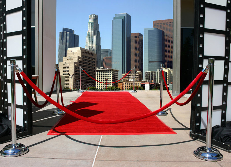 Red carpet and Los Angeles dow stock photo