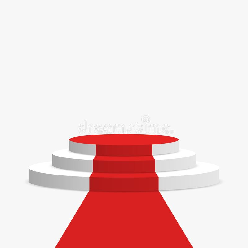 red carpet and podium white round pedestal with stairs isolated on