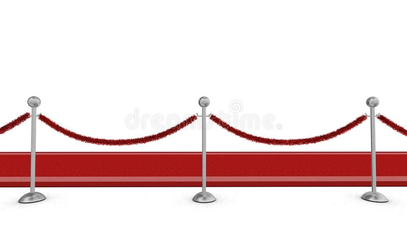 Red carpet with rope barrier royalty free stock photography