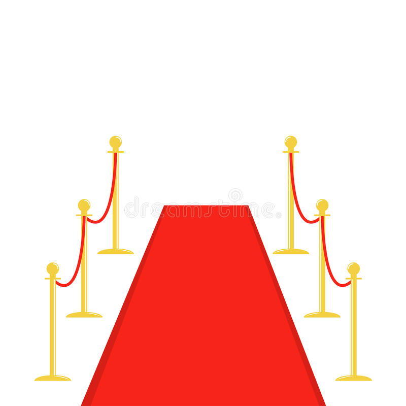 Red carpet and rope barrier golden stanchions turnstile template White background. Flat design royalty free illustration