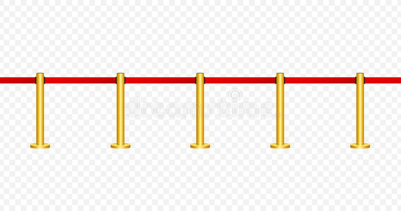 Red carpet with red ropes on golden stanchions. Exclusive event, movie premiere, gala, ceremony, awards concept. Vector stock. Red carpet with red ropes on stock illustration