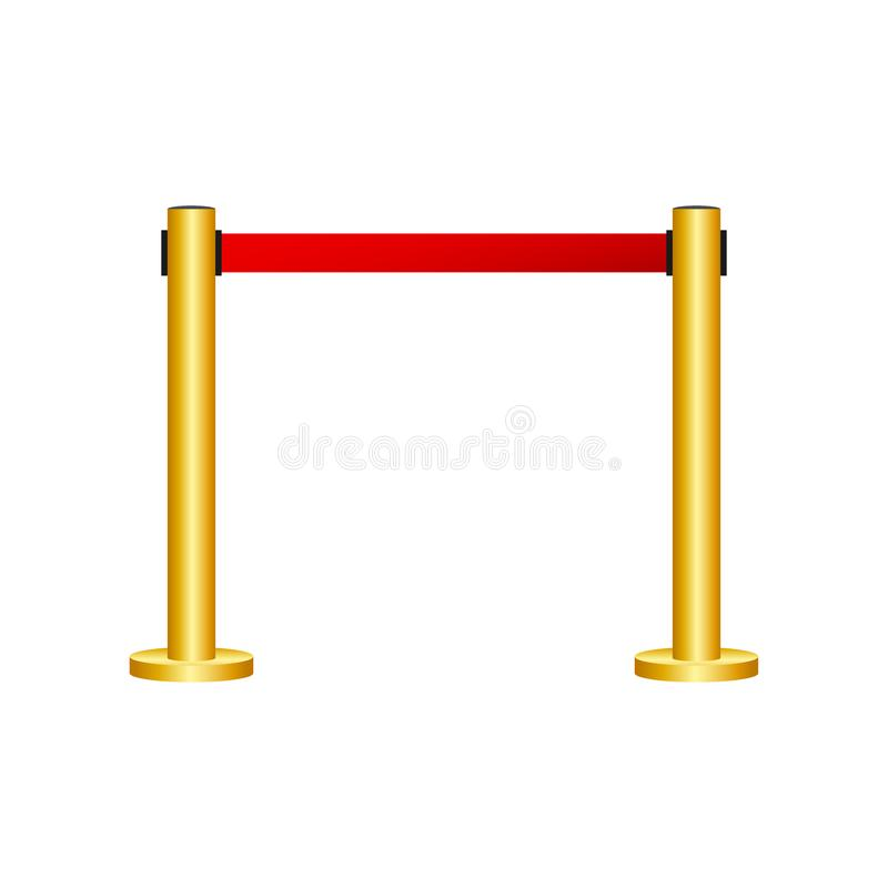 Red carpet with red ropes on golden stanchions. Exclusive event, movie premiere, gala, ceremony, awards concept. Vector stock. Red carpet with red ropes on royalty free illustration
