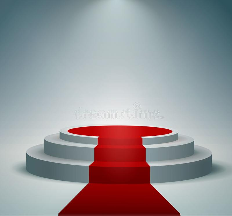 Red carpet and round podium with lights effect, abstract background, vector. Illustration royalty free illustration