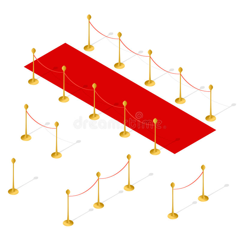 Red Carpet Set Isometric View. Vector. Red Carpet and Rope Barrier Set Isometric View. Vector illustration stock illustration
