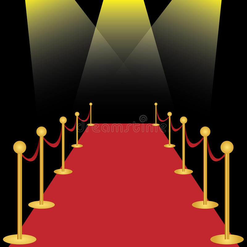 Red carpet. With spotlights on black background. EPS file available royalty free illustration