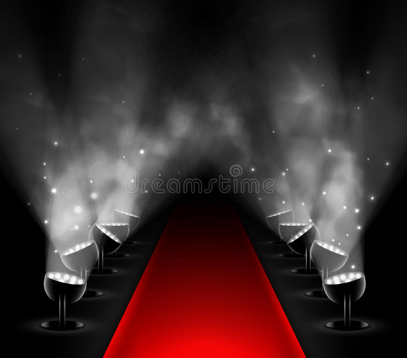 Red carpet. With spotlights. Eps 10 vector illustration