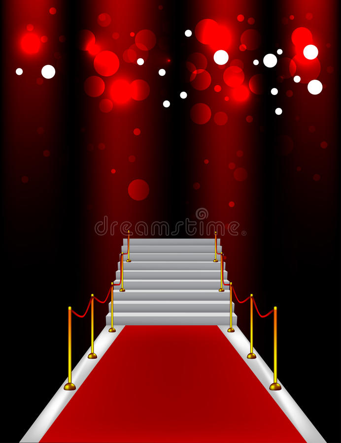 Red carpet with stairs. And sparkles vector illustration