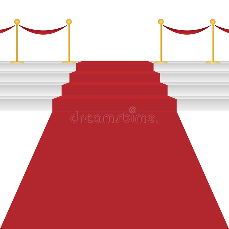 Red carpet. With stairway on white background. EPS file available vector illustration