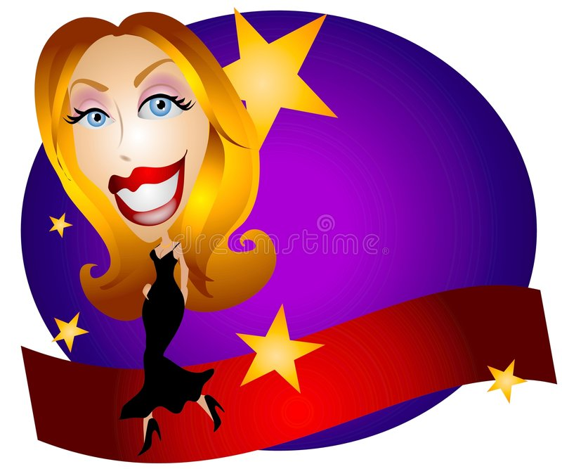 Red Carpet Stars Celebrity 2. A clip art illustration of a generic blonde woman celebrity or movie star wearing a long dress and walking across a red carpet with royalty free illustration