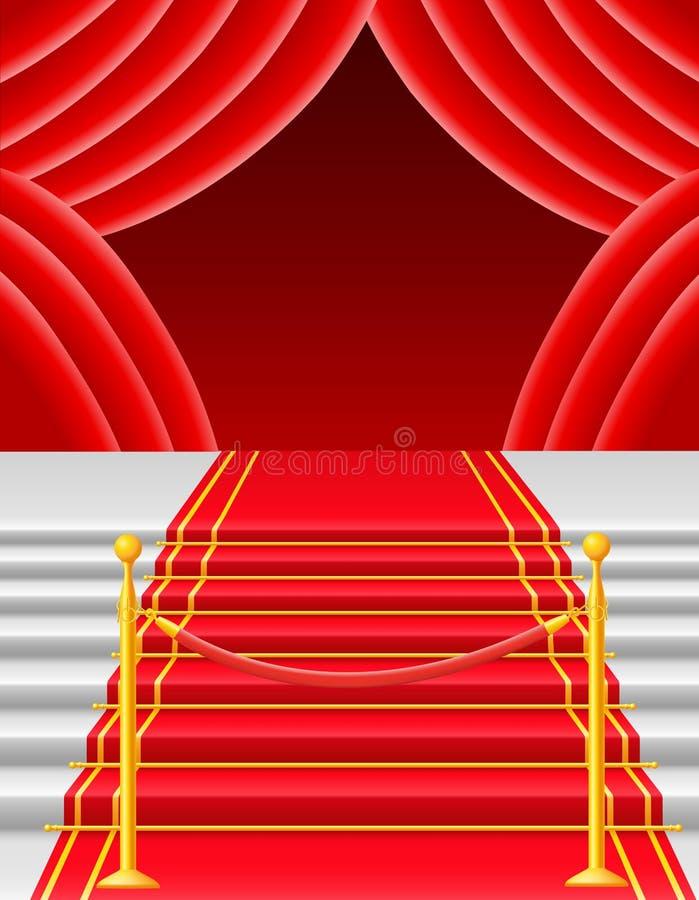 Red carpet with turnstile vector illustration. Red carpet on stairs with turnstile vector illustration on white background vector illustration