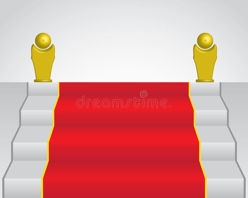 Download Red Carpet And Two Golden Statue Stock Vector - Image: 15722491