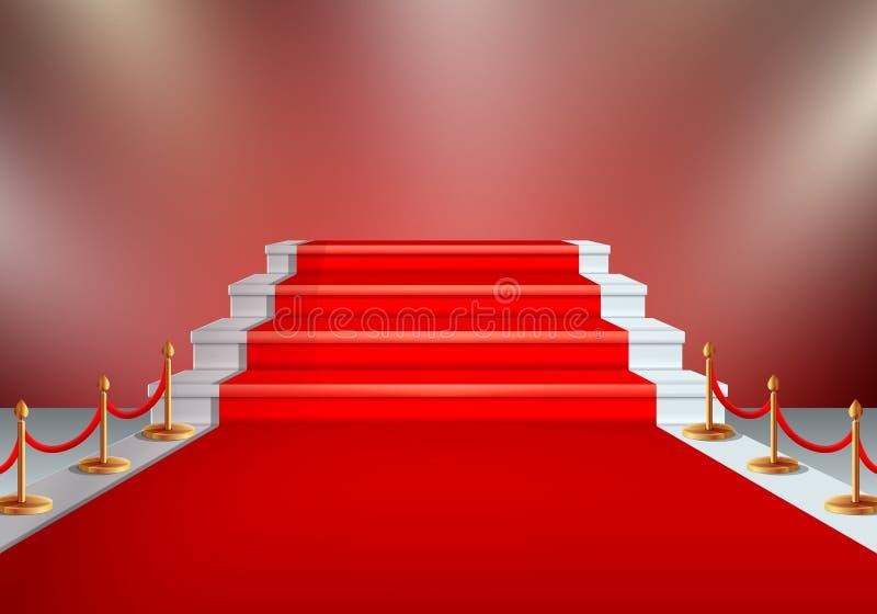 Red carpet under the lighting, vector illustration. Red carpet under the lighting at the awards ceremony, vector illustration royalty free illustration