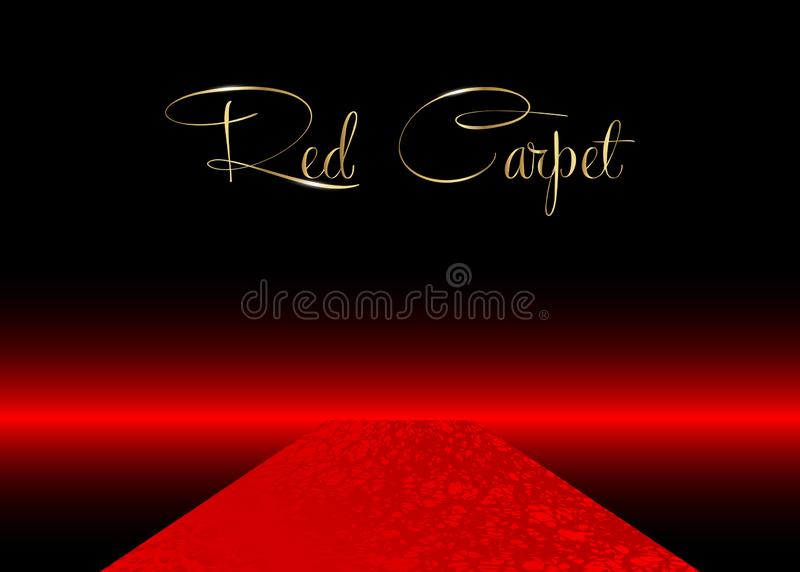 Red carpet vector background. Hollywood luxury and elegant red carpet event, perspective illustration. Red color carpet royalty free illustration