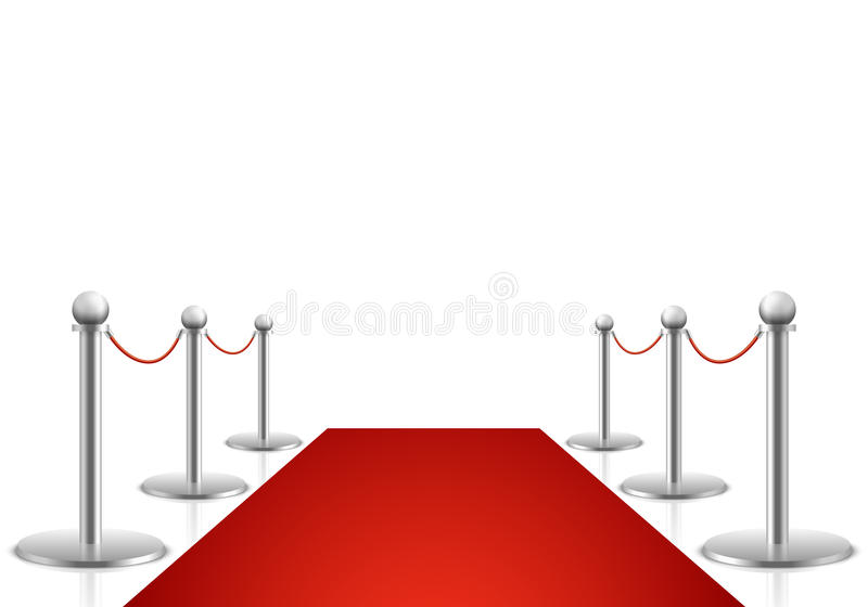 Red carpet vector illustration. Awards show background. With carpet path, entrance to event premiere on red carpet vector illustration