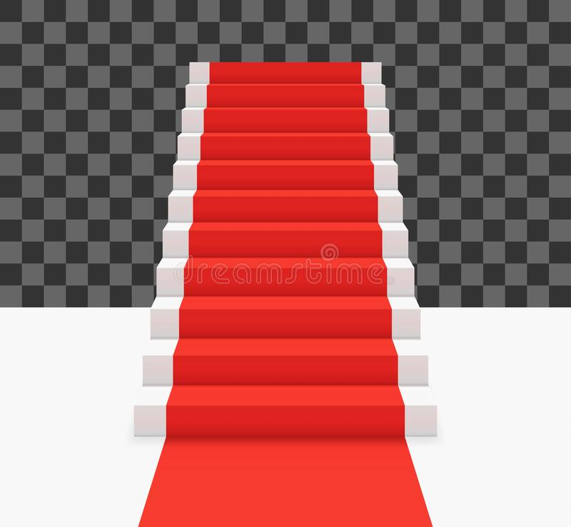 Red carpet on white stairs. Front view vector illustration. Red carpet on white stairs. Front view vector illustration royalty free illustration