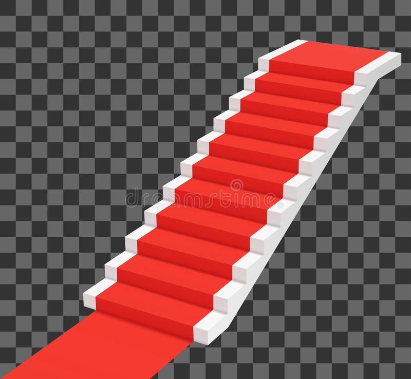 Red carpet on white stairs. Perspective view vector illustration. Red carpet on white stairs. Perspective view vector illustration stock illustration