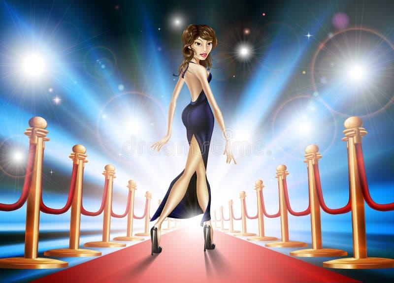 Red carpet woman stock illustration
