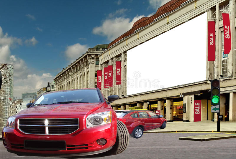 Download Red Cars On The Street Of Sale . Stock Photo - Image: 12450894