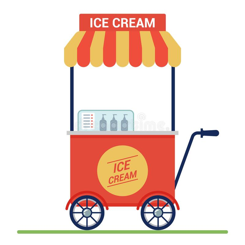 Red cart with ice cream on the street. small business. royalty free illustration